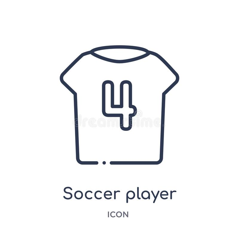 soccer player number four icon from sports outline collection. Thin line soccer player number four icon isolated on white stock illustration