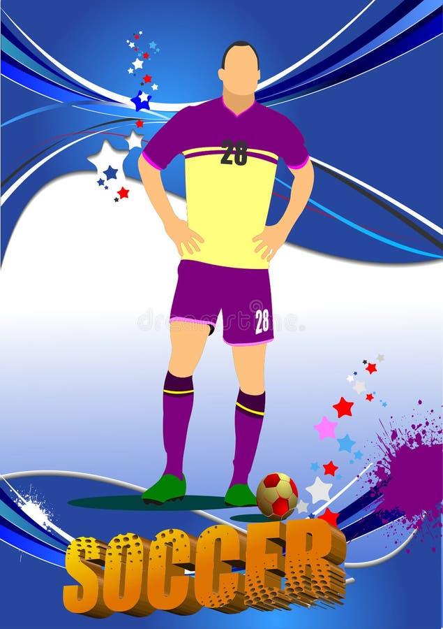 Soccer player poster. Vector illustration stock illustration