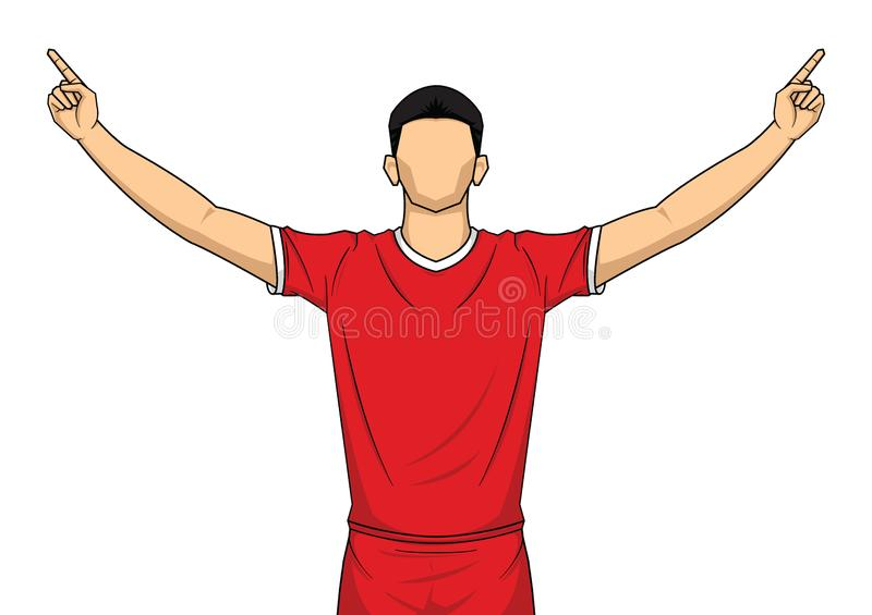 Soccer player on red uniform. happy celebration isolated on white background royalty free illustration