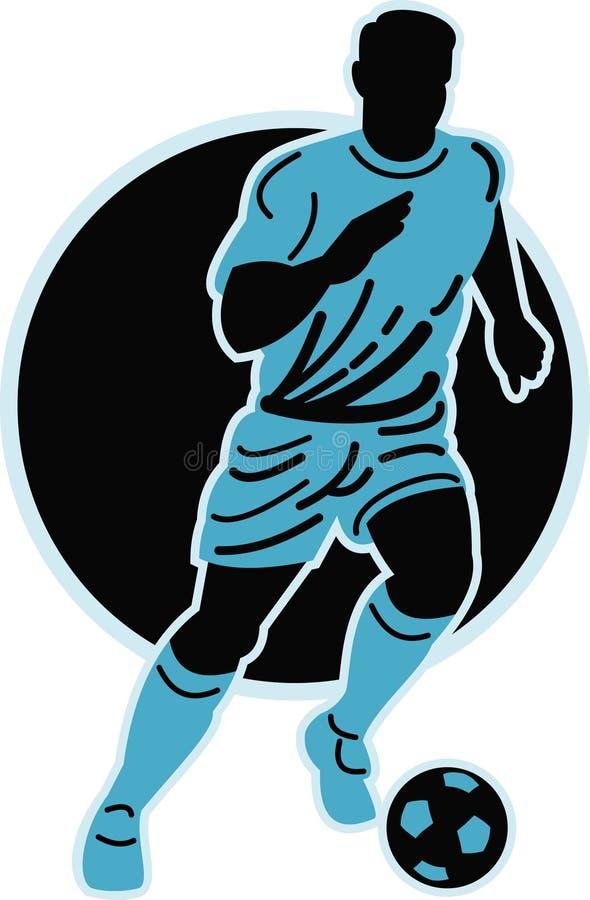 Soccer player running ball. Illustration of a soccer player running with the ball isolated on white royalty free illustration