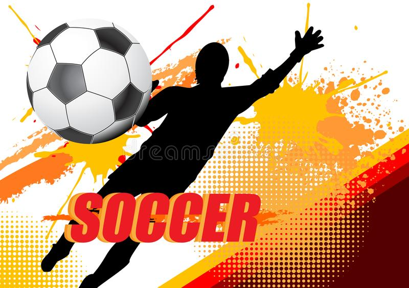 Soccer player save the ball on splatter color on white background vector illustration