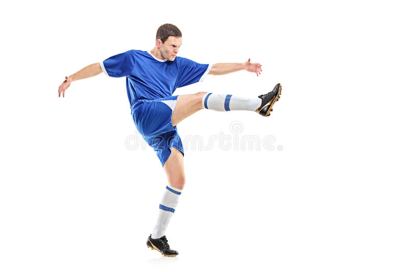 Download A soccer player shooting stock image. Image of person - 13060485