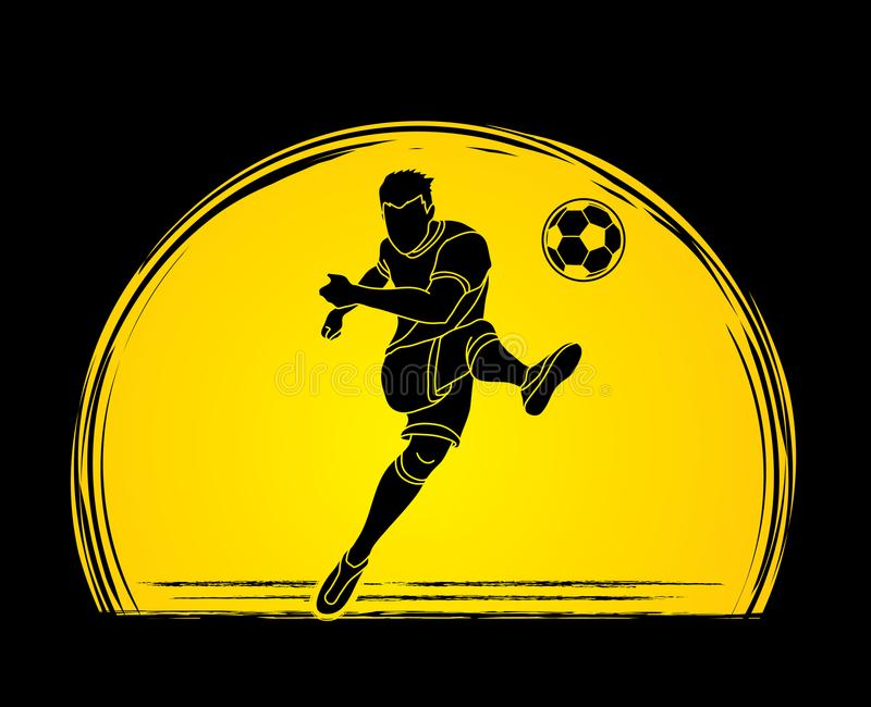 Soccer player shooting a ball action graphic vector. royalty free illustration