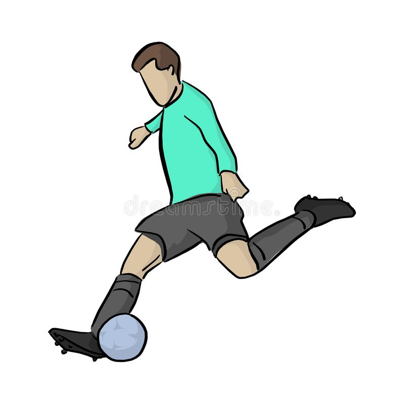 Soccer player shooting a blue ball vector illustration with black lines isolated on white background.  stock illustration