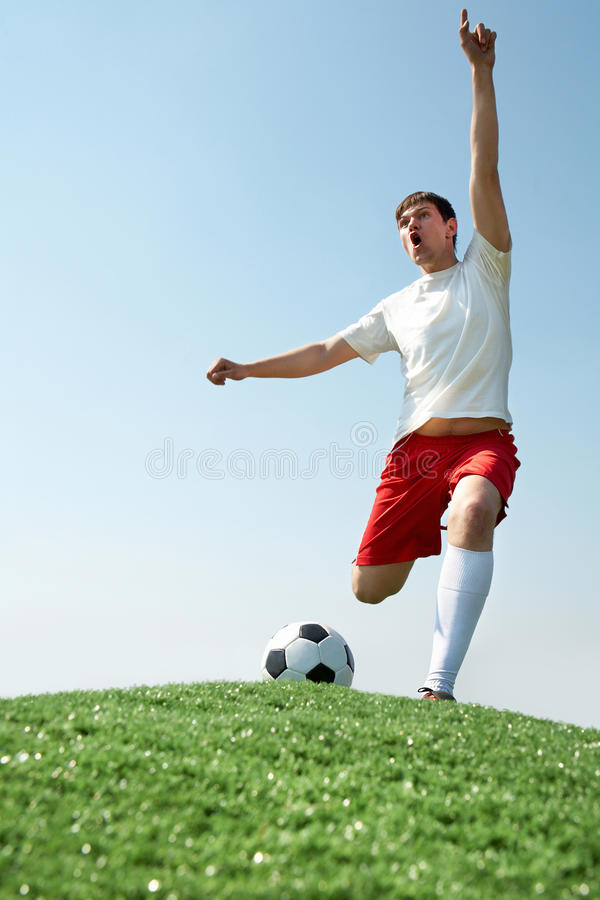 Download Soccer player shouting stock image. Image of energetic - 19924931
