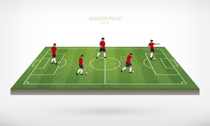 Soccer player and soccer football ball in area of soccer field. Soccer player and soccer football ball in area of soccer field with white background. Abstract royalty free illustration