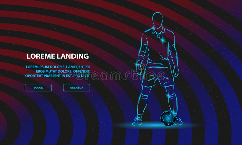 Soccer player stands near the ball and prepare for a kick. Vector Sport Background for Landing Page Template. stock illustration