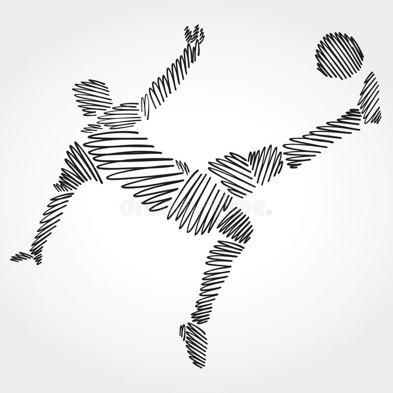 Soccer player stretching the body to dominate the ball royalty free illustration