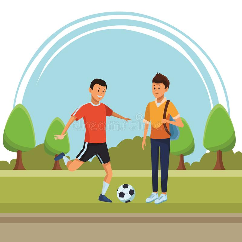 Soccer player and student vector illustration