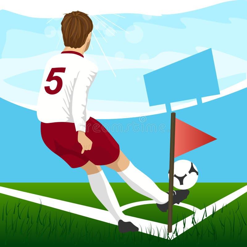 Soccer player taking corner kick royalty free illustration