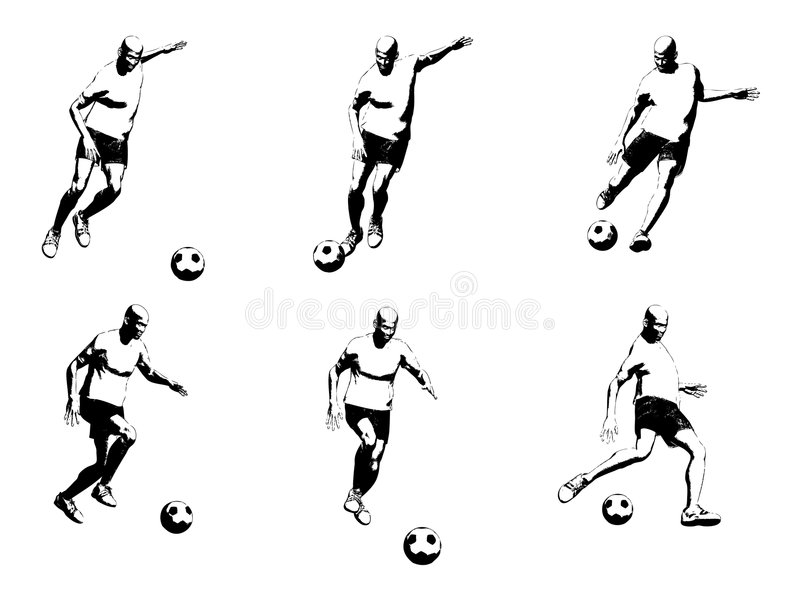 Soccer player (vector). Soccer player - vector silhouettes in action royalty free illustration