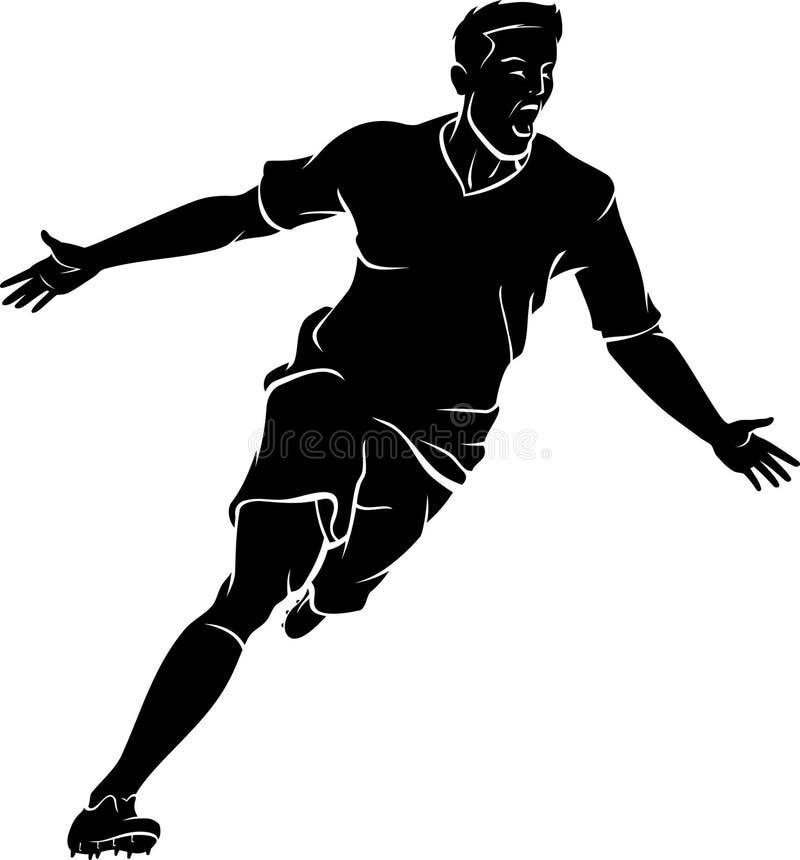 Soccer Player Winning Run Silhouette royalty free illustration