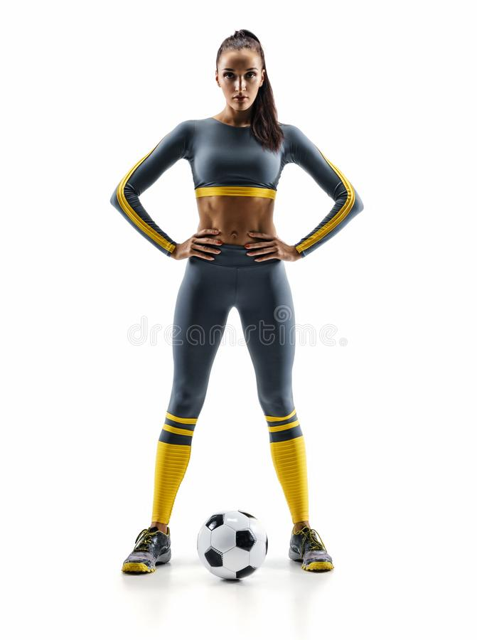 Soccer player woman standing in silhouette isolated on white background royalty free stock photography