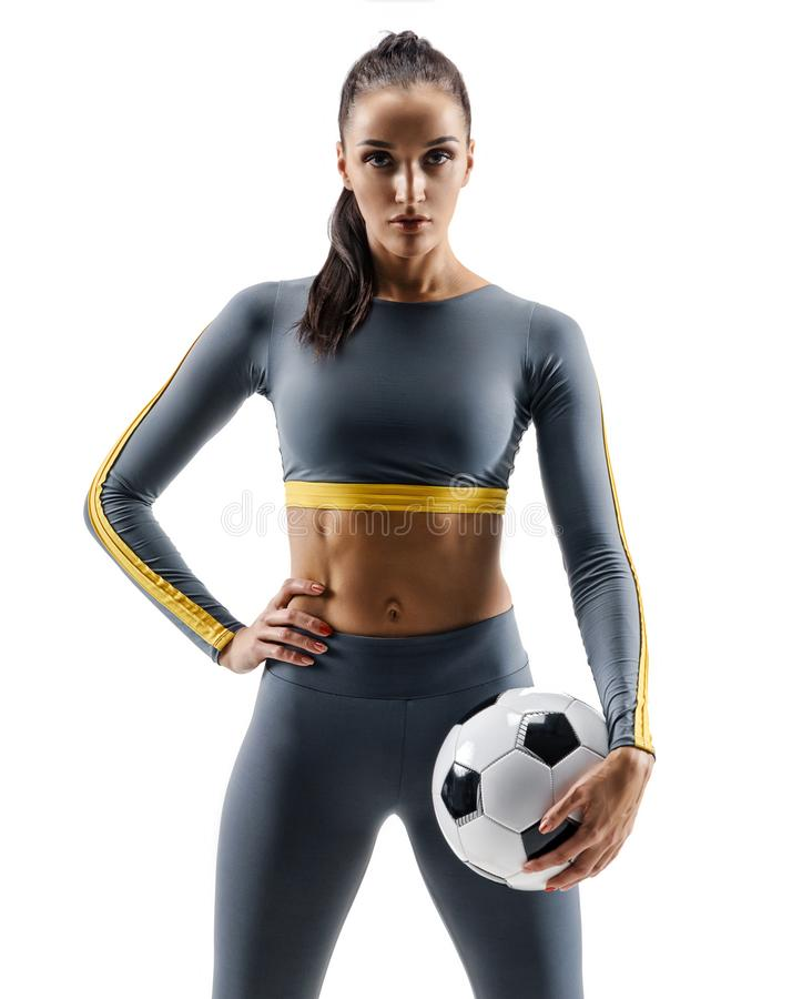 Soccer player woman standing in silhouette isolated on white background stock photo
