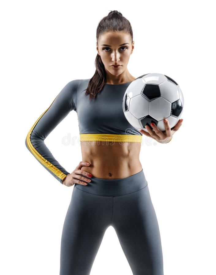 Soccer player woman standing in silhouette royalty free stock image