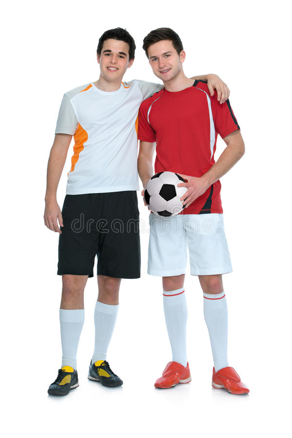 Soccer players. With a ball isolated on white background royalty free stock photos
