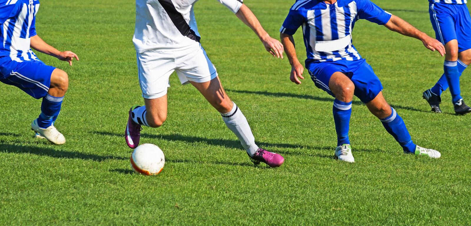 Soccer players in action. During the match royalty free stock photos