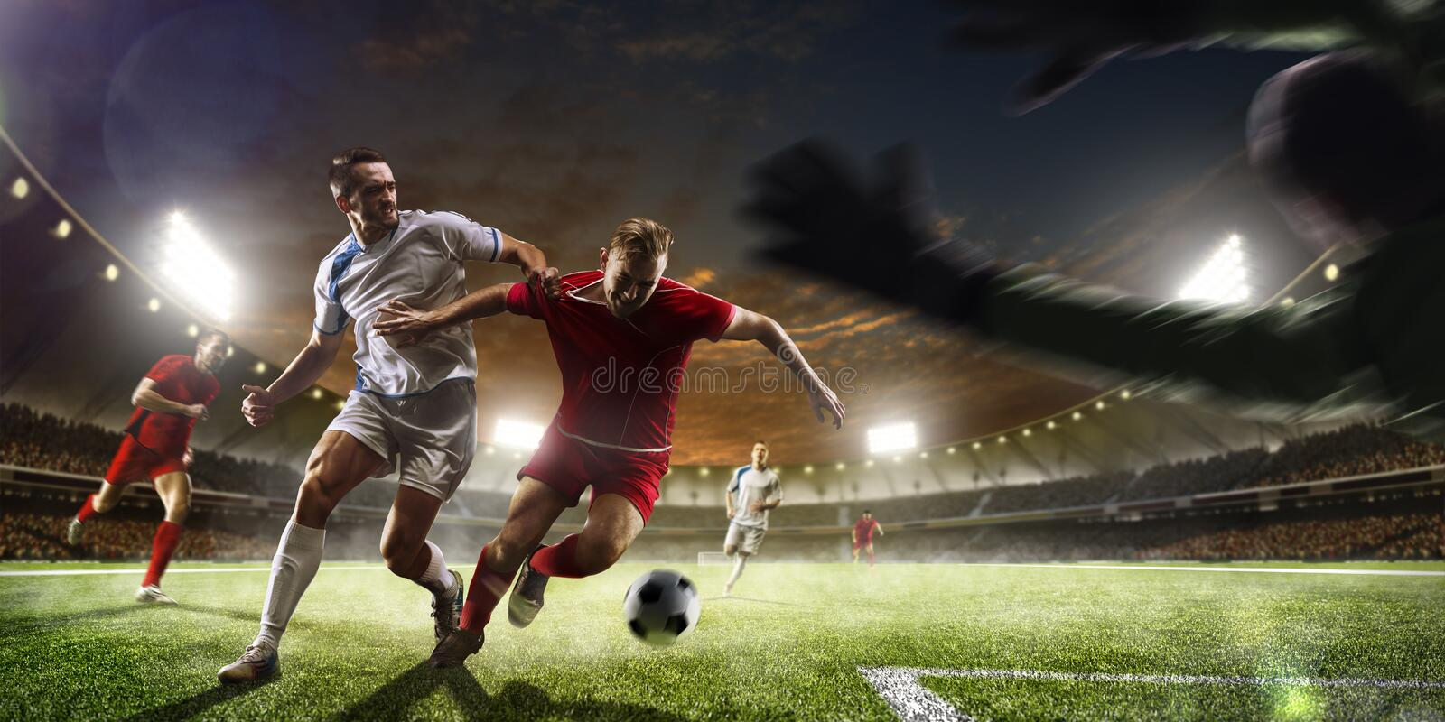 Download Soccer Players In Action On Sunset Stadium Background Panorama Stock Image - Image: 63968973