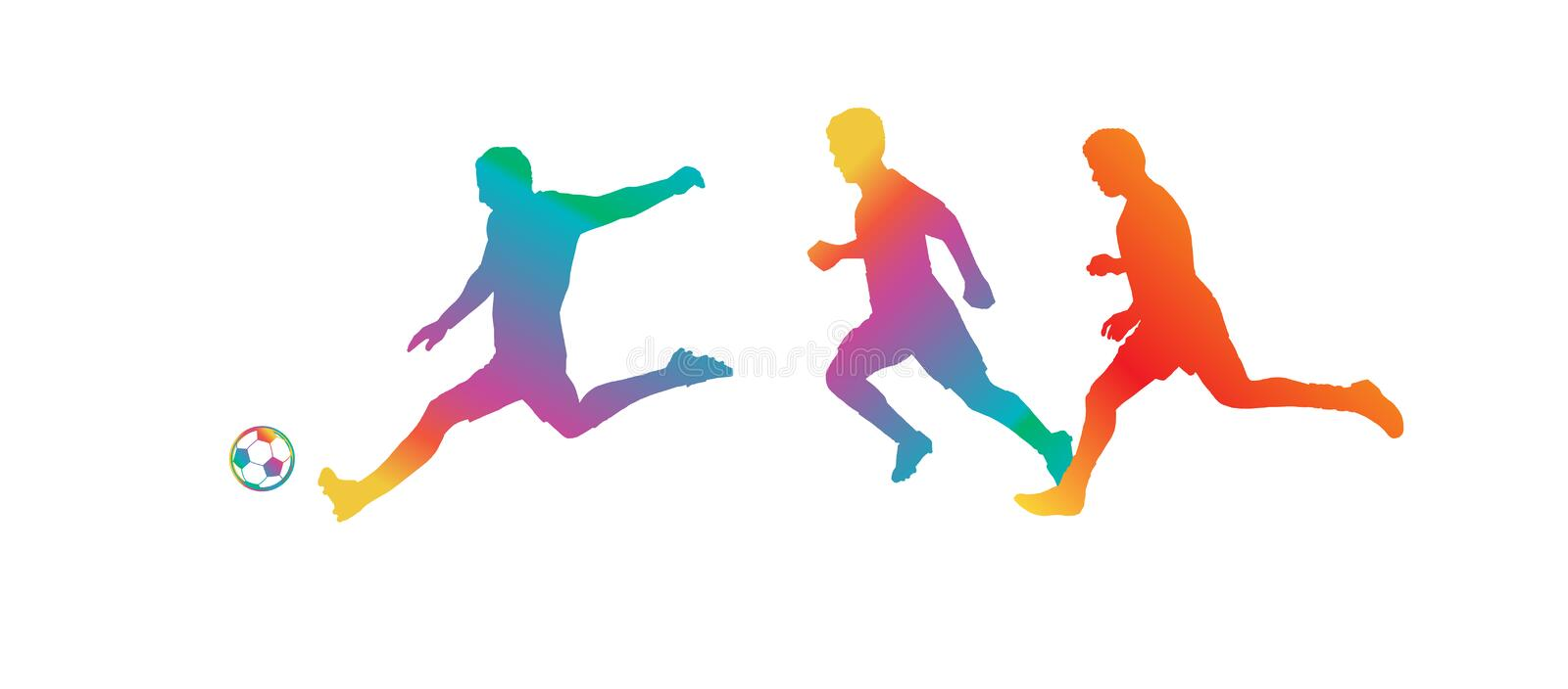 Soccer Players Silhouettes Championship world cup 2019 football royalty free illustration