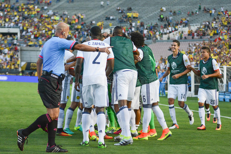 Soccer players celebrating goal royalty free stock photos