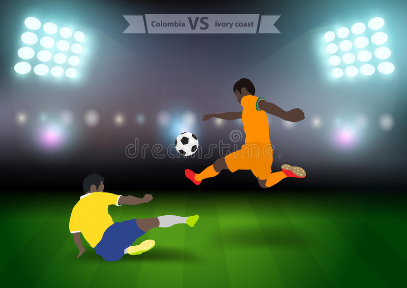 Soccer players colombia versus ivory coast. Two football players in jump to strike the ball at the stadium, Soccer players colombia versus ivory coast, Brazil vector illustration