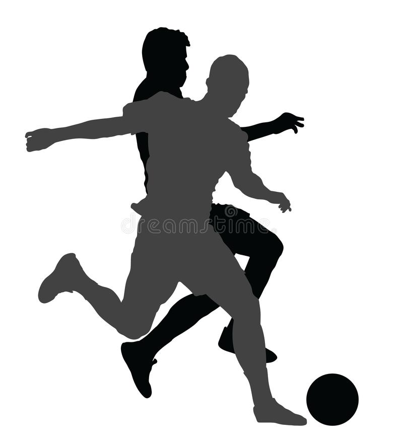 Soccer players in duel silhouettes. stock illustration