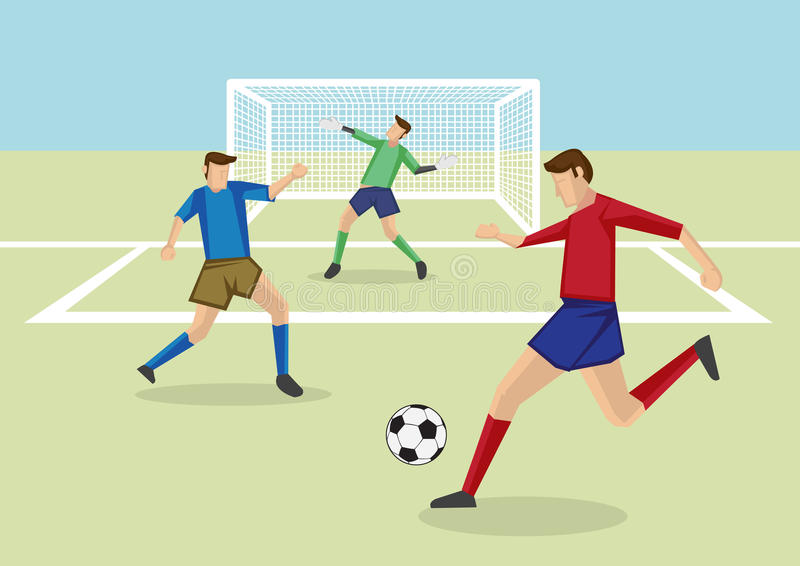 Soccer Players And Goalkeeper In Soccer Field Vector ...