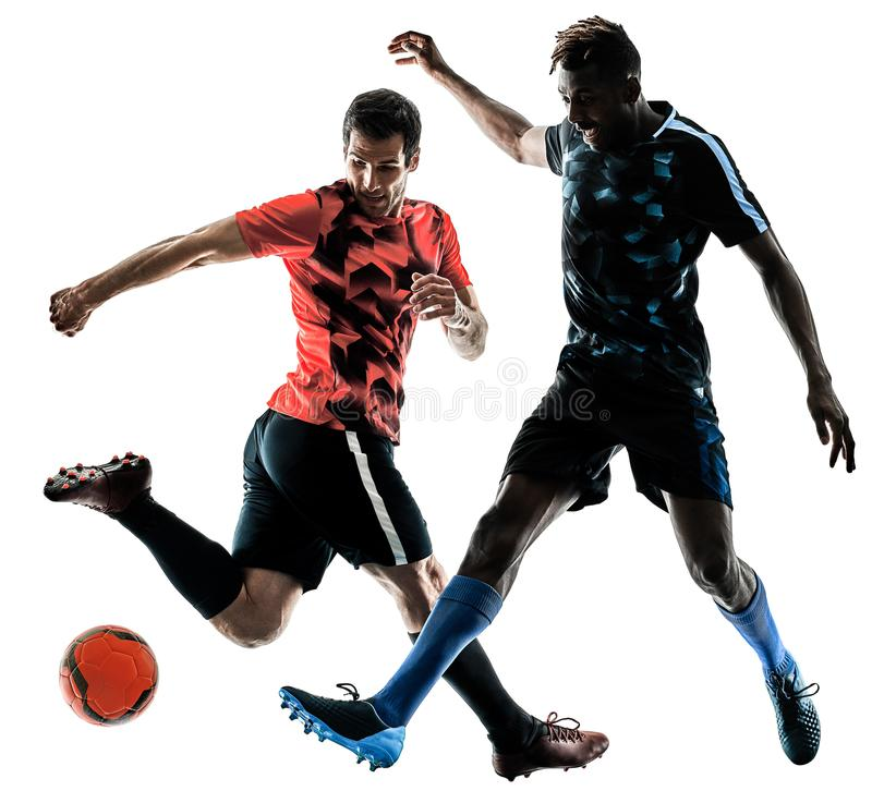 Soccer players men isolated silhouette white background. Two soccer players men in studio silhouette isolated on white background royalty free stock photos