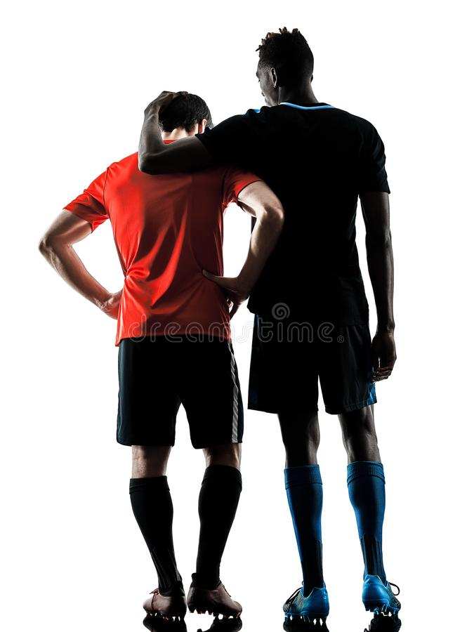Soccer players men isolated silhouette white background royalty free stock image