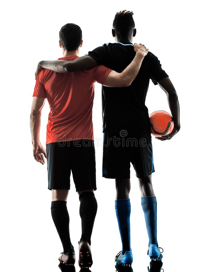 Soccer players men isolated silhouette white background stock photography