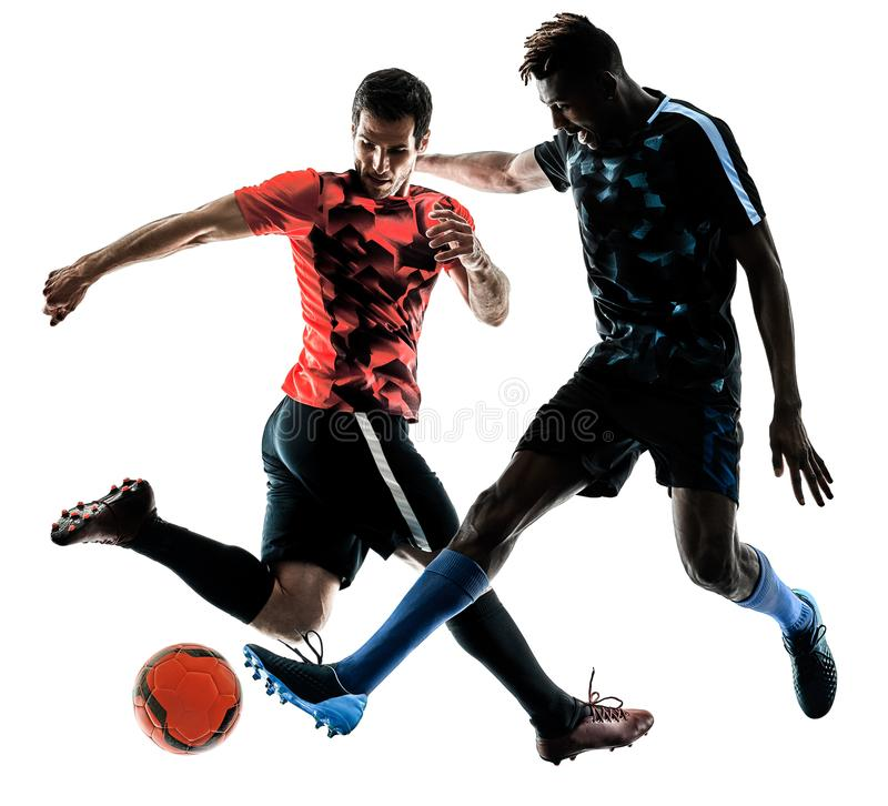 Soccer players men isolated silhouette white background stock images