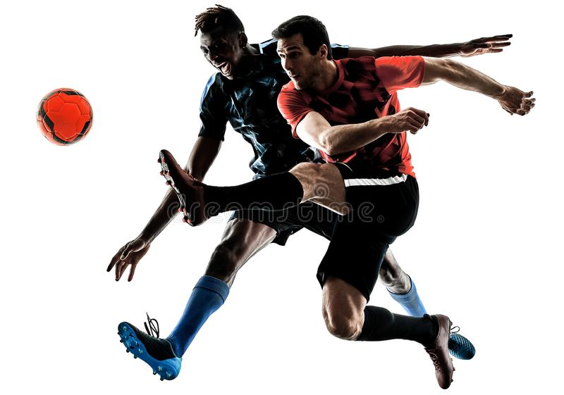 Soccer players men isolated silhouette white background royalty free stock images
