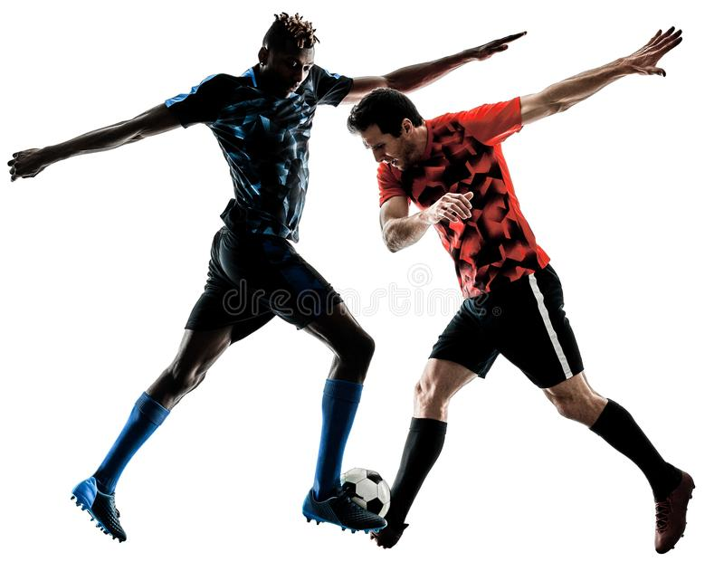 Soccer players men isolated silhouette white background stock photos