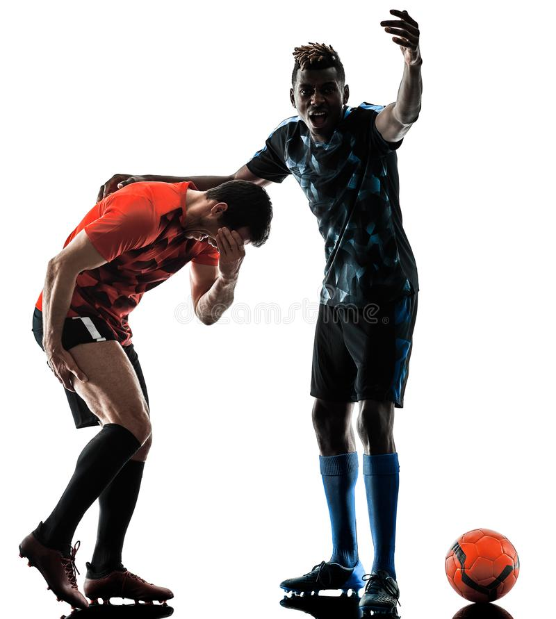 Soccer players men isolated silhouette white background royalty free stock photography