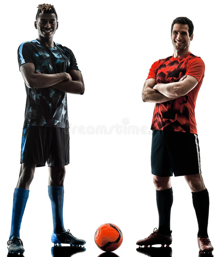 Soccer players men isolated silhouette white background stock photo