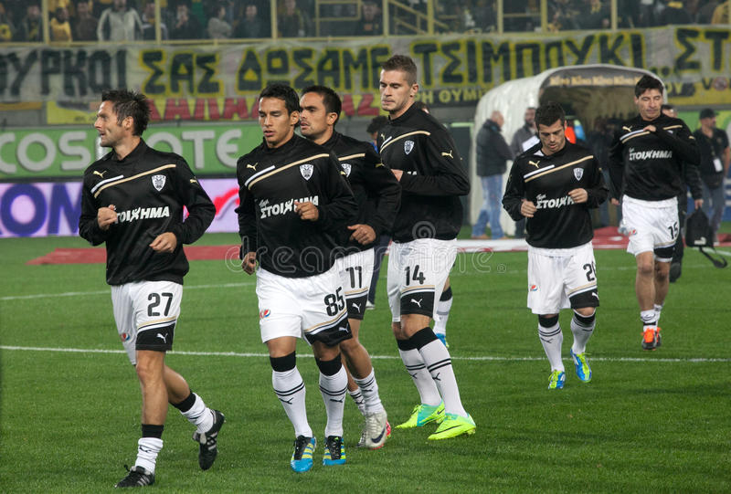 Download The Soccer Players Paok Gets Into The Playing Area Editorial Photography - Image: 22102142