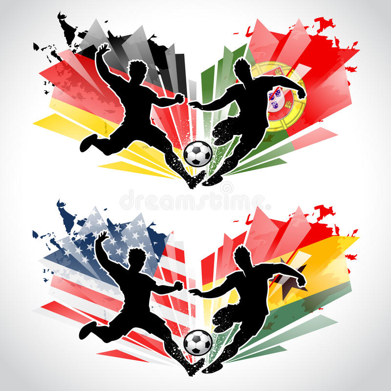 Soccer players representing countries vector illustration