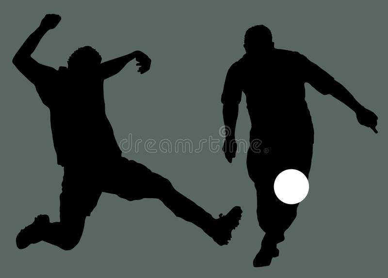 Soccer Players Silhouette royalty free illustration