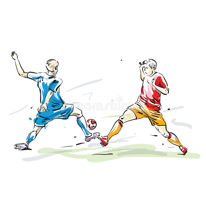Soccer players. Two soccer players vector illustration stock illustration
