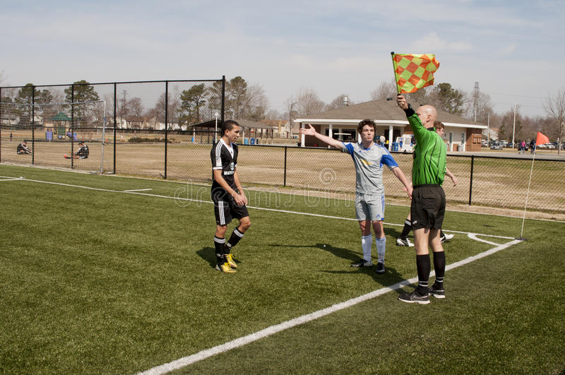 Soccer Ref. An image of a soccer ref being challenged by a player during a US Soccer Development Academy game between VA Rush and Match Fit Academy FC at the royalty free stock photography