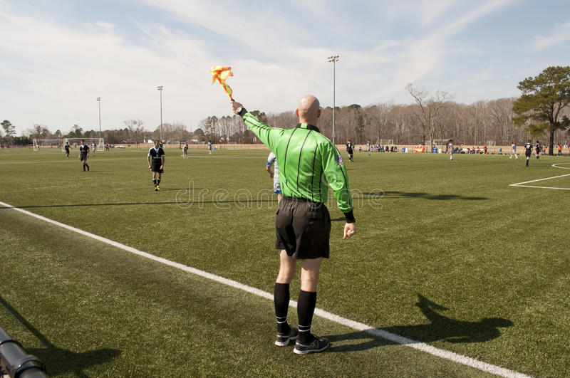 Soccer Ref. An image of a soccer ref being making a call during a US Soccer Development Academy game between VA Rush and Match Fit Academy FC at the Hampton royalty free stock images