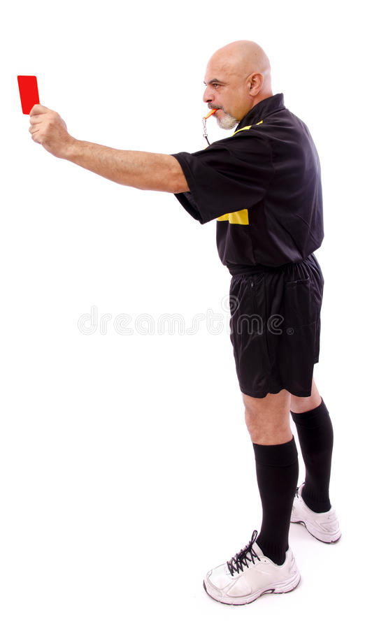 Soccer referee. Full length portrait of isolated soccer referee, red card stock photos