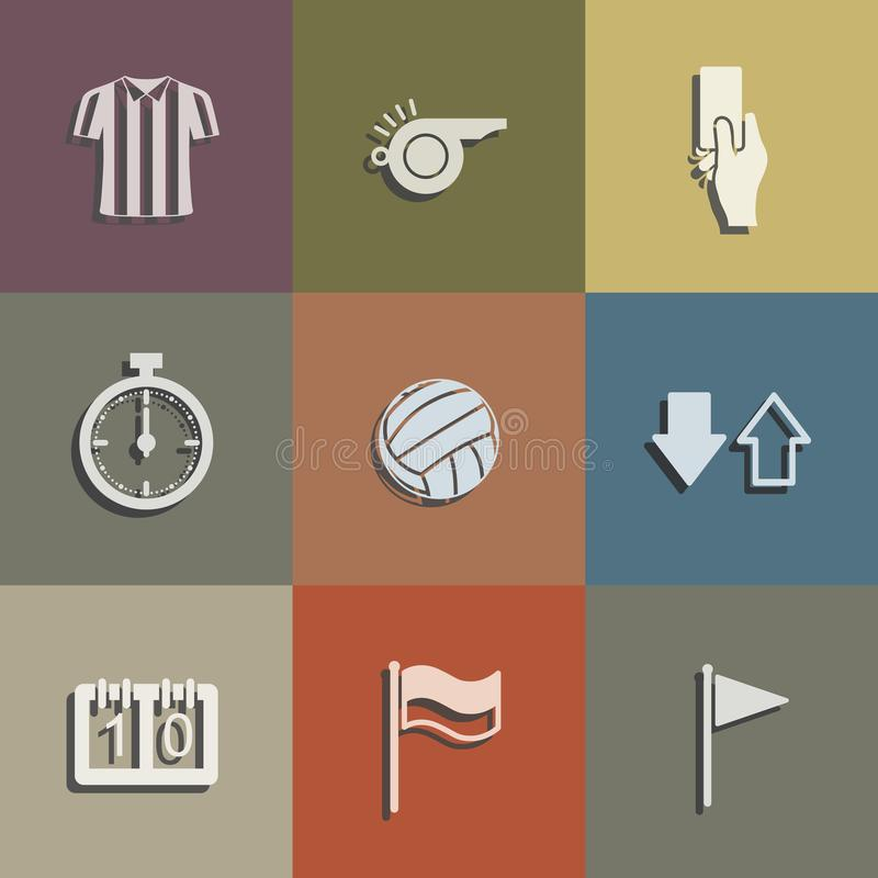 Soccer referee icon set. Abstract football sign and symbol. Vector. stock illustration