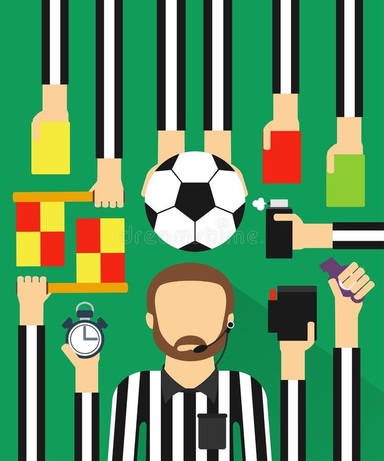 Soccer referee modern design flat set. Soccer referee modern design fla sett.Vector illustration royalty free illustration