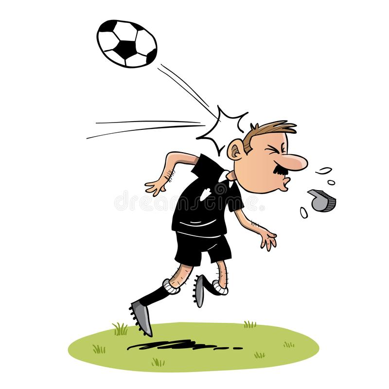 Soccer referee getting hit with the ball in the head. Soccer referee with moustache and whistle getting hit hard in the head with a ball stock illustration
