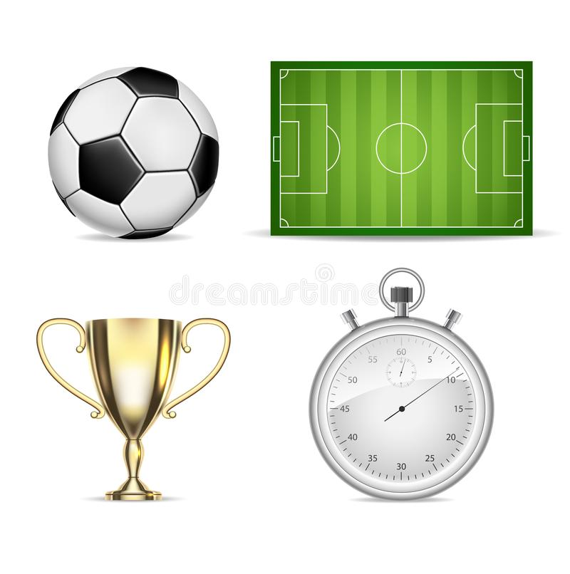 Soccer set icons with field, ball, cup and stopwatch isolated stock illustration