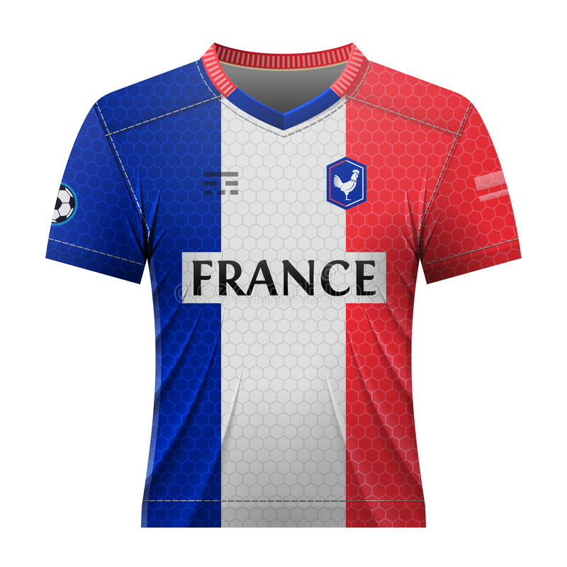 Soccer shirt in colors of french flag stock illustration