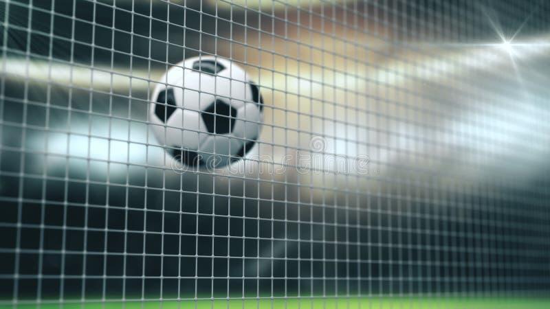 Soccer Slow Motion Ball flight into Goal Net. 3d rendering Close up success Sport Concept. Fans on Stadium taking vector illustration