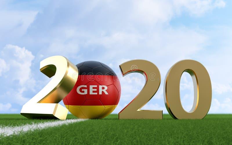 Soccer 2020 - Soccer ball in German flag design on a soccer field. Soccer ball representing the 0 in 2020. vector illustration
