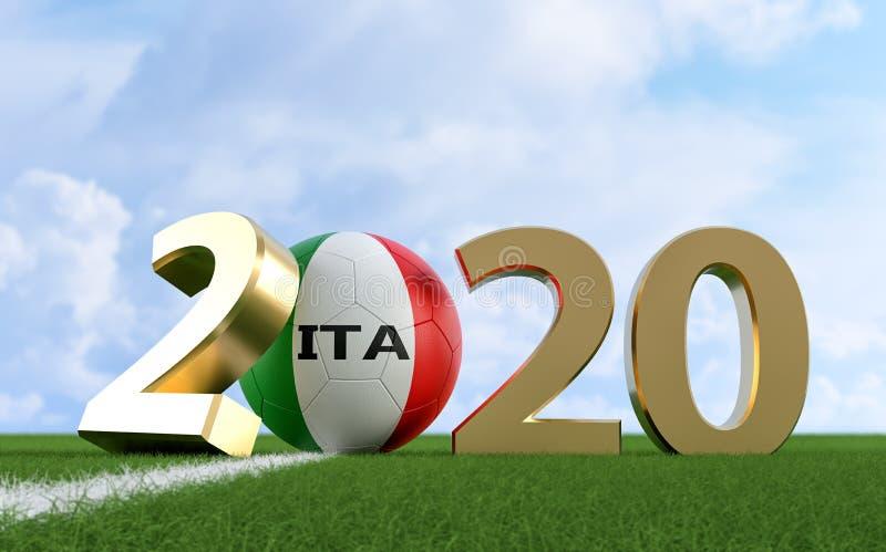 Soccer 2020 - Soccer ball in Italy flag design on a soccer field. Soccer ball representing the 0 in 2020. vector illustration